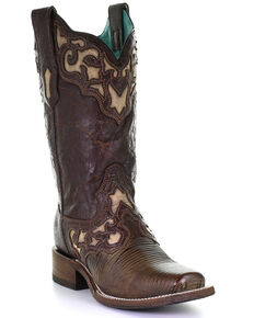 Corral Women's Lizard Inlay Western Boots - Square Toe, Brown, hi-res
