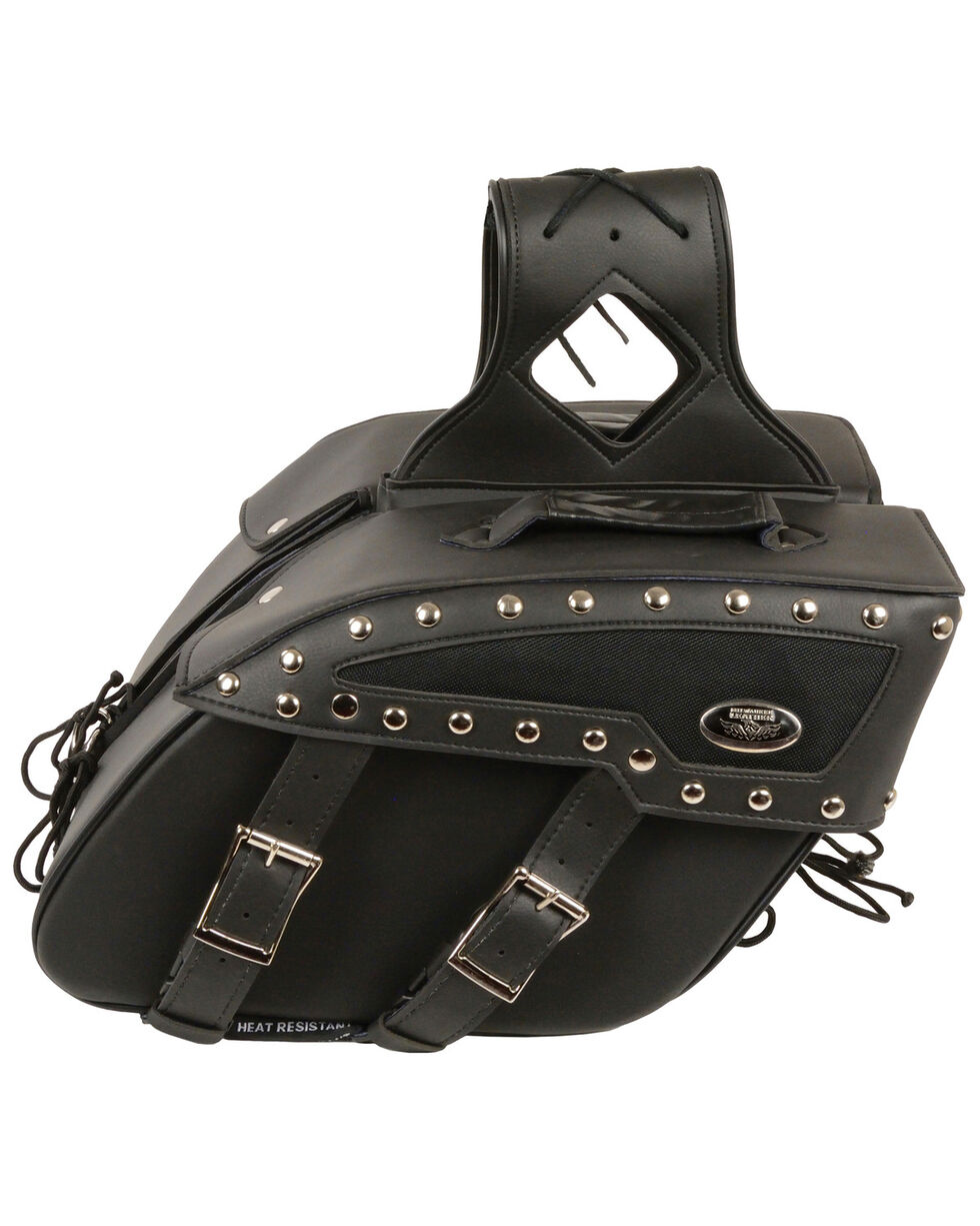 Milwaukee Leather Medium Zip-Off Studded PVC Slanted Throw Over Saddle Bag, Black, hi-res
