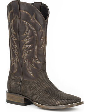 Stetson Men's Dark Brown Ring Lizard Western Boots - Square Toe , Brown, hi-res