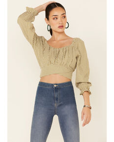 Beyond The Radar Women's Olive Gingham Back Tie-Up  Long Sleeve Crop Top, Olive, hi-res
