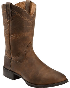 Ariat Heritage Roper Cowboy Boots, Brown, hi-res