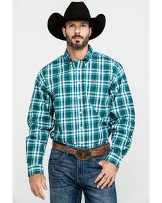 Cinch Men's Green Med Plaid Long Sleeve Western Shirt , Green, hi-res