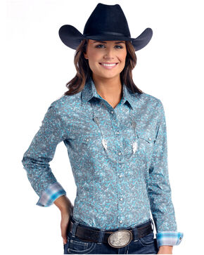 Rough Stock by Panhandle Women's Lavaca Vintage Print Long Sleeve Western Shirt, Multi, hi-res