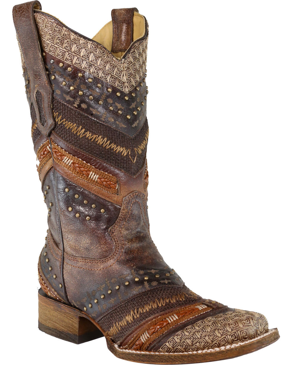 Corral Women's Brown Chevron Embroidered and Studs Cowgirl Boots - Square Toe , Brown, hi-res
