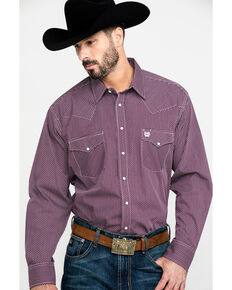 Cinch Men's Purple Diamond Geo Print Long Sleeve Western Shirt , Purple, hi-res