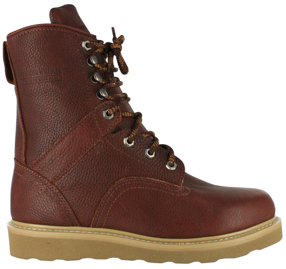 """American Worker Men's 8"""" Lace-Up Work Boots , Russet, hi-res"""
