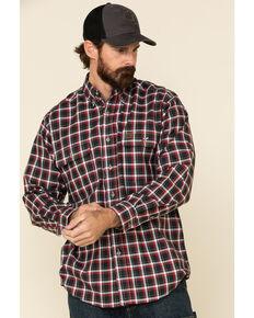 Wrangler Riggs Men's Blue Plaid Foreman Long Sleeve Work Shirt , Blue/red, hi-res