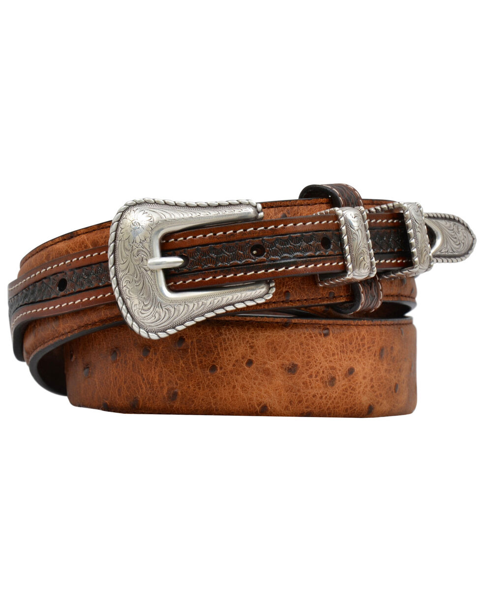 3D Men's Brown Vintage Ostrich Print Fashion Ranger Belt, Brown, hi-res