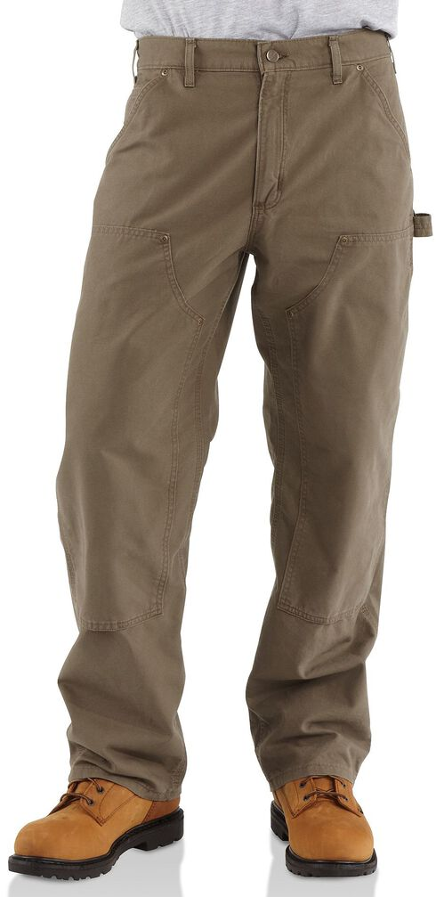 Carhartt Double-Front Canvas Work Dungaree Pants, Light Brown, hi-res