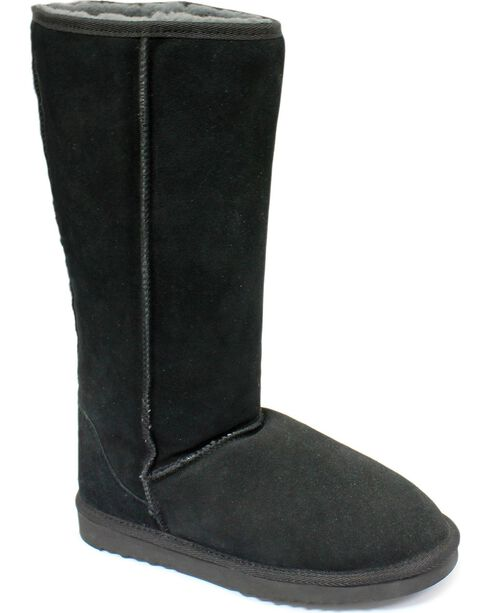"Dije California Women's 14"" Classic Sheepskin Boots, Black, hi-res"