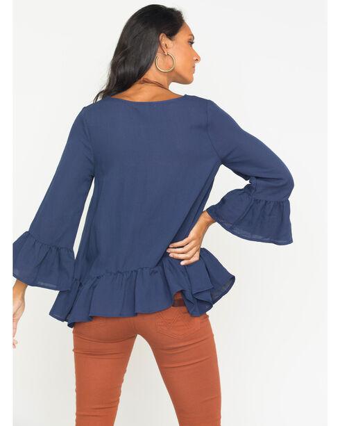 Polagram Women's Long Sleeve Ruffle Top, Navy, hi-res