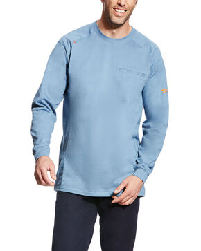 Ariat Men's FR Air Crew Long Sleeve Work Shirt - Big, Blue, hi-res