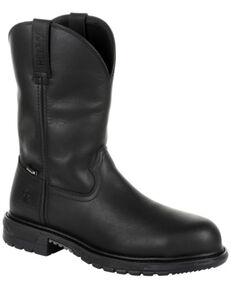 Rocky Men's Original Ride FLX Waterproof Western Boots - Steel Toe, Black, hi-res