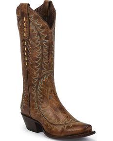 Nocona Women's Crazy Karma Western Boots - Snip Toe, Tan, hi-res