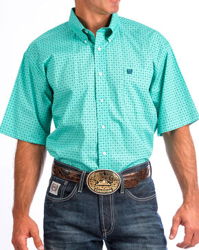 Cinch Men's Turquoise Print Short Sleeve Button Down Shirt, Turquoise, hi-res
