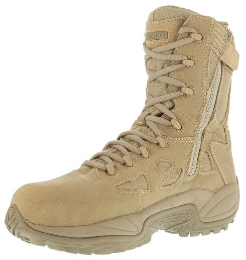 "Reebok Men's Stealth 8"" Lace-Up Side-Zip Work Boots, Desert Khaki, hi-res"