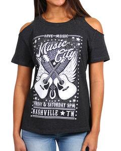 Shyanne Women's Music City Cold Shoulder T-Shirt , Charcoal, hi-res