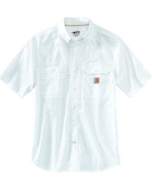 Carhartt Force Men's Blue Ridgefield Solid Short Sleeve Shirt, White, hi-res