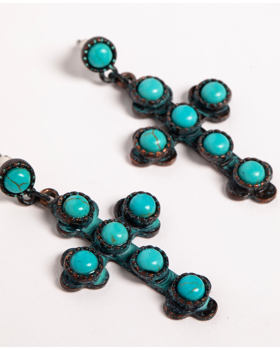 Shyanne Women's Turquoise Bead Cross Earrings, Turquoise, hi-res