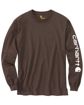 Carhartt Signature Logo Sleeve Knit T-Shirt - Big & Tall, Dark Brown, hi-res