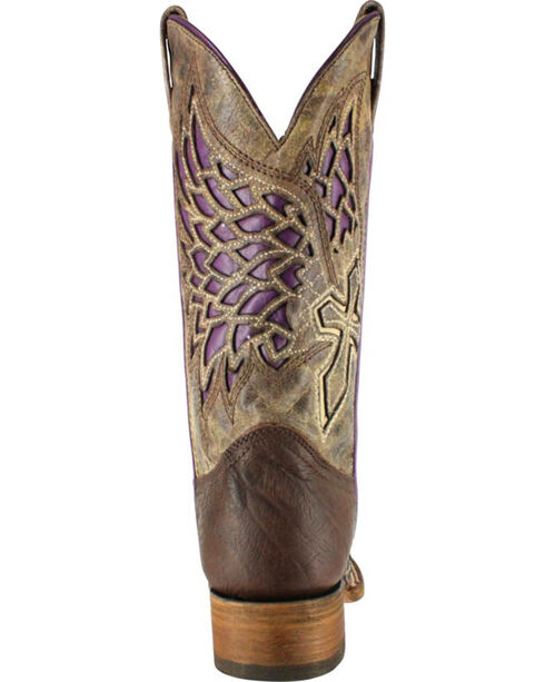 Corral Women's Wing and Cross Inlay Western Boots - Square Toe , Brown, hi-res