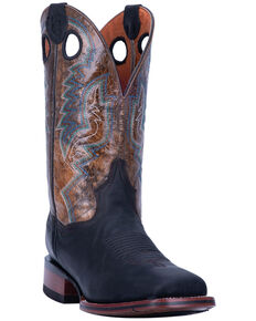 Dan Post Men's Deuce Western Boots - Wide Square Toe, Black/brown, hi-res