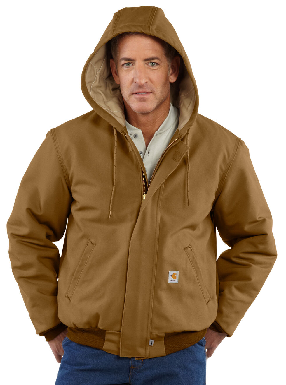 Carhartt Flame-Resistant Duck Active Hooded Jacket - Big & Tall, Carhartt Brown, hi-res