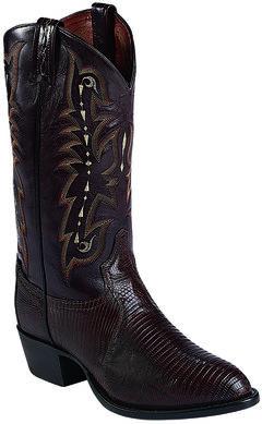 Tony Lama Chocolate Lizard Exotics Cowboy Boots - Round Toe , Chocolate, hi-res