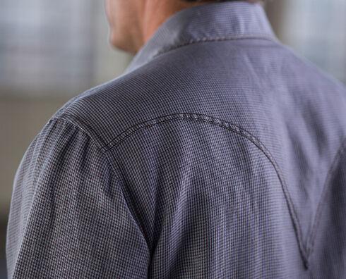 Ryan Michael Men's Jeans Yarn Dye Houndstooth Shirt, Indigo, hi-res