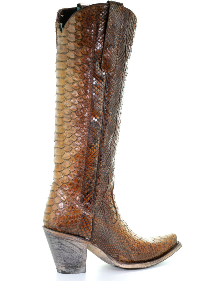 Corral Women's Tan Tall Full Python Zipper Cowgirl Boots - Snip Toe, Wheat, hi-res