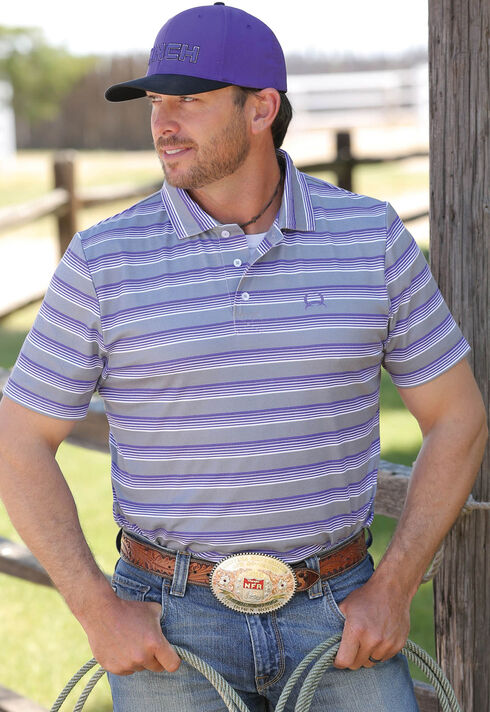 Cinch Men's Grey Short Sleeve Polo , Grey, hi-res