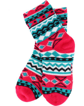 Shyanne Girls' Pink/Turquoise Patterned Cozy Socks, Multi, hi-res