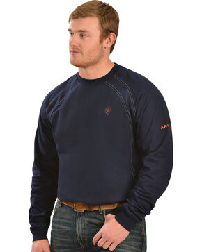 Ariat Flame Resistant Workwear Crew Long Sleeve T-Shirt - Big & Tall, Navy, hi-res
