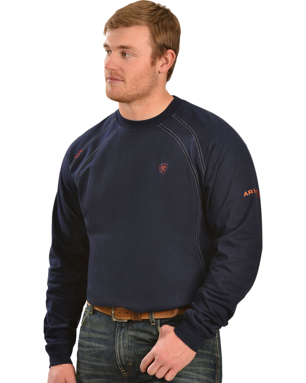 Ariat Flame Resistant Workwear Crew Long Sleeve T-Shirt - Big and Tall, Navy, hi-res