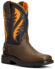 Ariat Youth Boys' VentTEK Western Work Boots - Soft Toe, Brown, hi-res