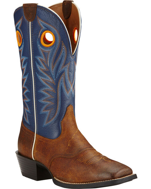Ariat Federal Blue Sport Outrider Cowboy Boots - Square Toe , Brown, hi-res