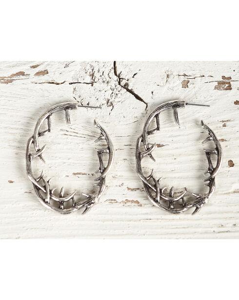Shyanne Women's Silver Antler Hoop Earrings, Silver, hi-res