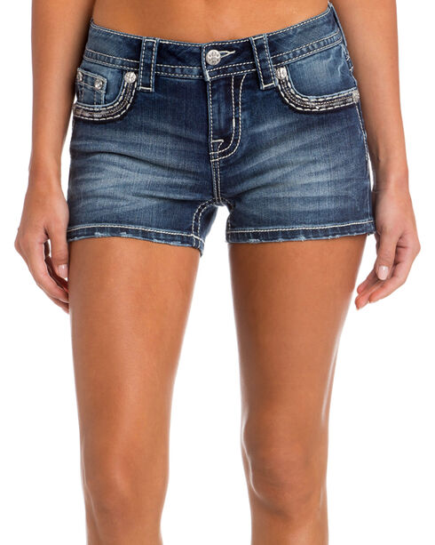 Miss Me Women's Blue Just Blossoming Shorts , Blue, hi-res