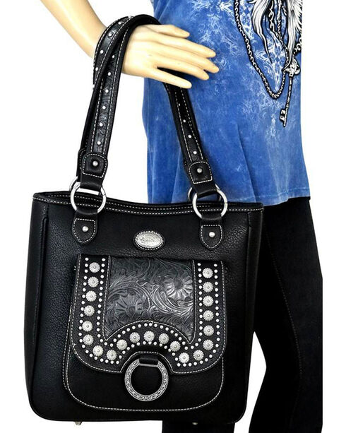 Montana West Women's Black Concho Concealed Carry Tote , Black, hi-res