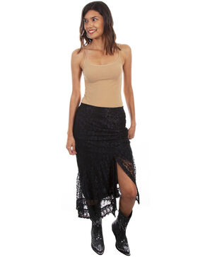 Honey Creek by Scully Women's Black Slit Lace Scallop Skirt, Black, hi-res