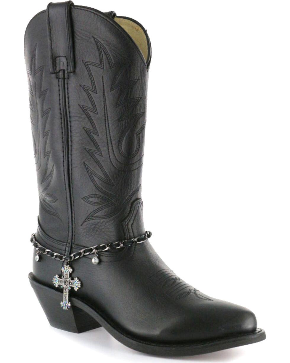 Shyanne Women's Cross Boot Bracelet, Black, hi-res