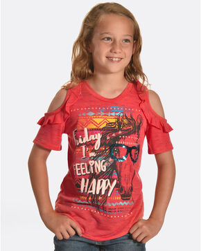 Shyanne Girls' Friday Feeling Cold Shoulder T-Shirt, Coral, hi-res