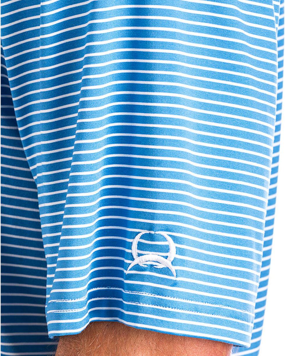 Cinch Men's ArenaFlex Blue Striped Athletic Polo, Blue, hi-res