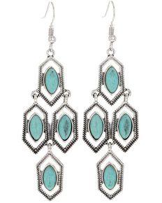 Montana Silversmiths Women's Mosaic Turquoise Attitude Earrings, Silver, hi-res