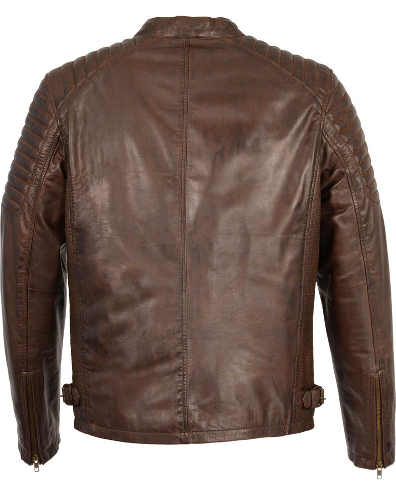 Milwaukee Leather Men's Quilted Shoulders Snap Collar Leather Jacket, Brown, hi-res