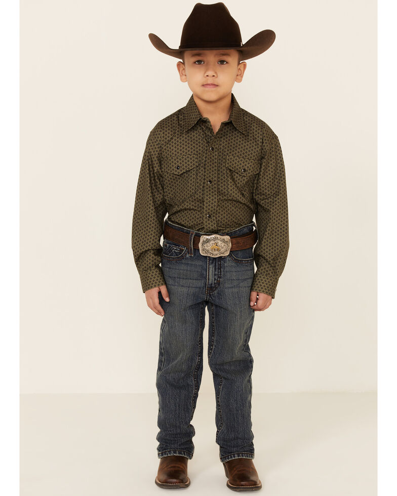 Amarillo Boys' Cool Pines Olive Star Geo Print Long Sleeve Snap Western Shirt , Green, hi-res