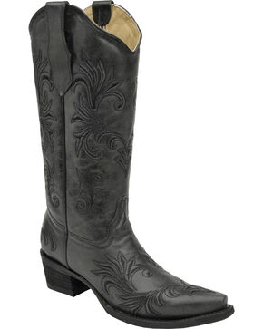 Circle G Filigree Cowgirl Boots - Snip Toe, Black, hi-res