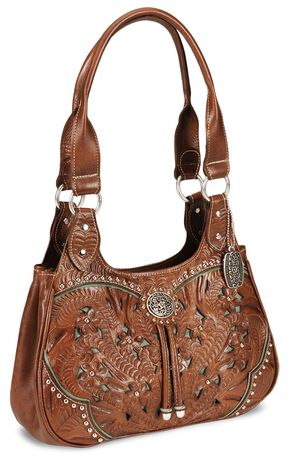 American West Lady Lace Tote Handbag, Tan, hi-res