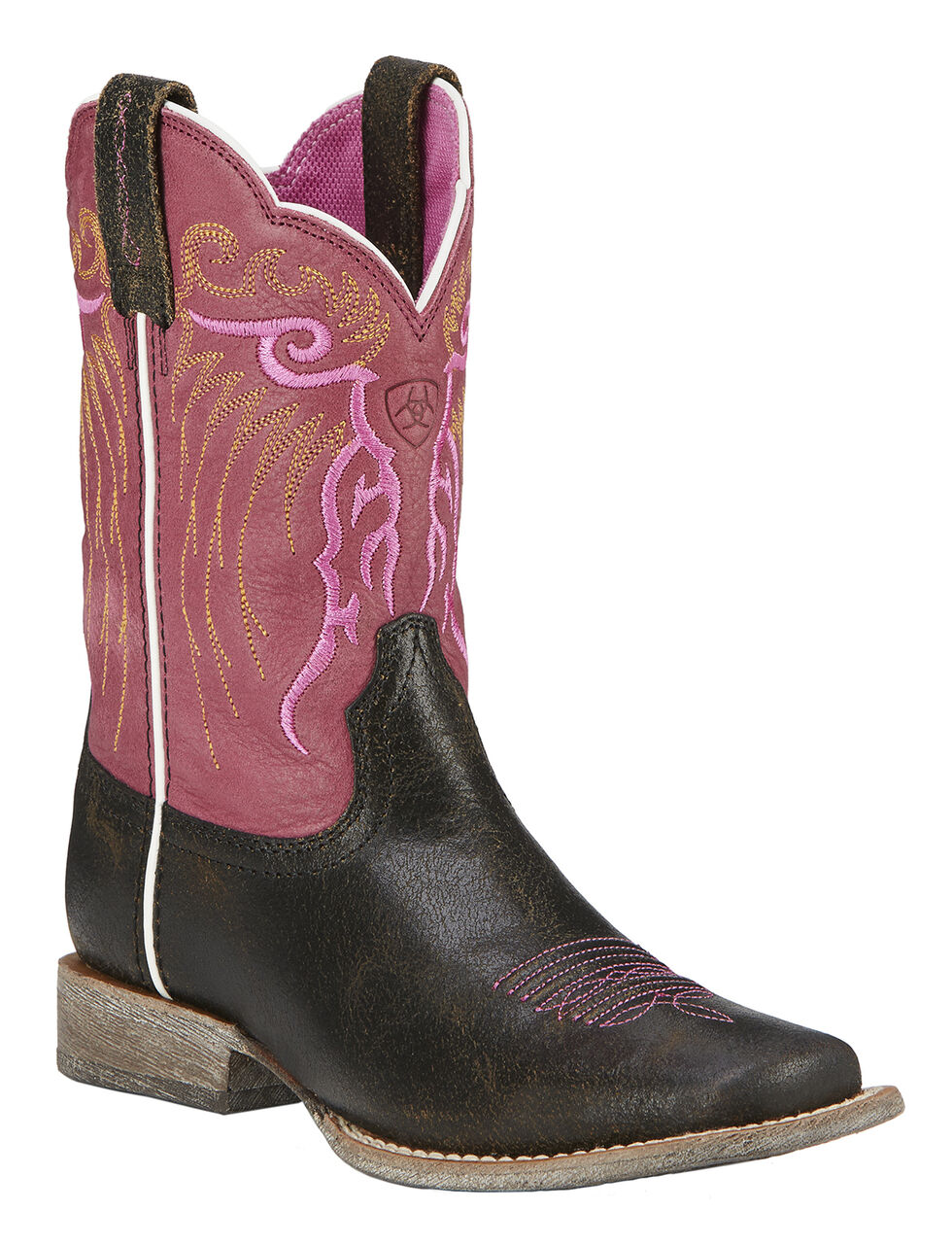Ariat Girls' Mesteno Boot Cowgirl Boots - Square Toe, Toffee, hi-res