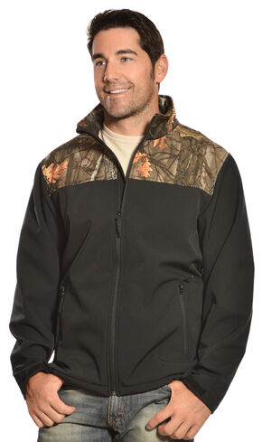 Red Ranch Men's Black & Camo Bonded Fleece Jacket, Black, hi-res